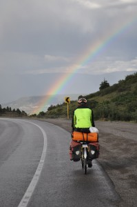 This rainbow appeared as we rode over the top of the Dallas Divide (8970 feet), one of our easier climbs in Colorado.