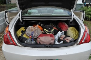 A sense of finality at the end of the Tour--loading all our gear up in the trunk of the car.