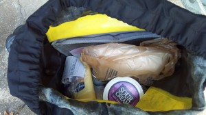My pannier--full of groceries rather than the typical camping equipment and clothes!