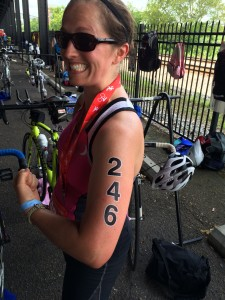 """Yes, they gave us temporary tattoos to put the number on our arms and legs. Unfortunately, that left a lovely """"246"""" tan line that lingers now, a month later!"""