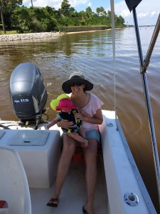 Kirby's first boat ride--out to lunch at Tacky Jack's!